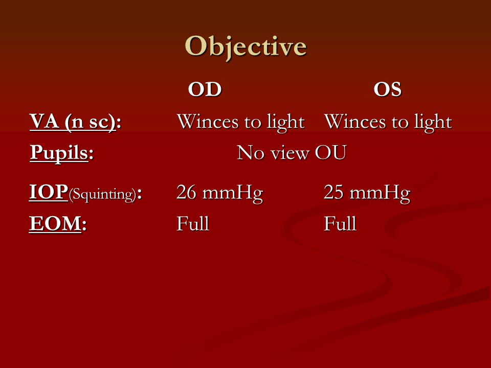 IOP (Squinting) :26 mmHg 25 mmHg EOM:FullFull Objective OD OS OD OS VA (n sc): Winces to lightWinces to light Pupils: No view OU