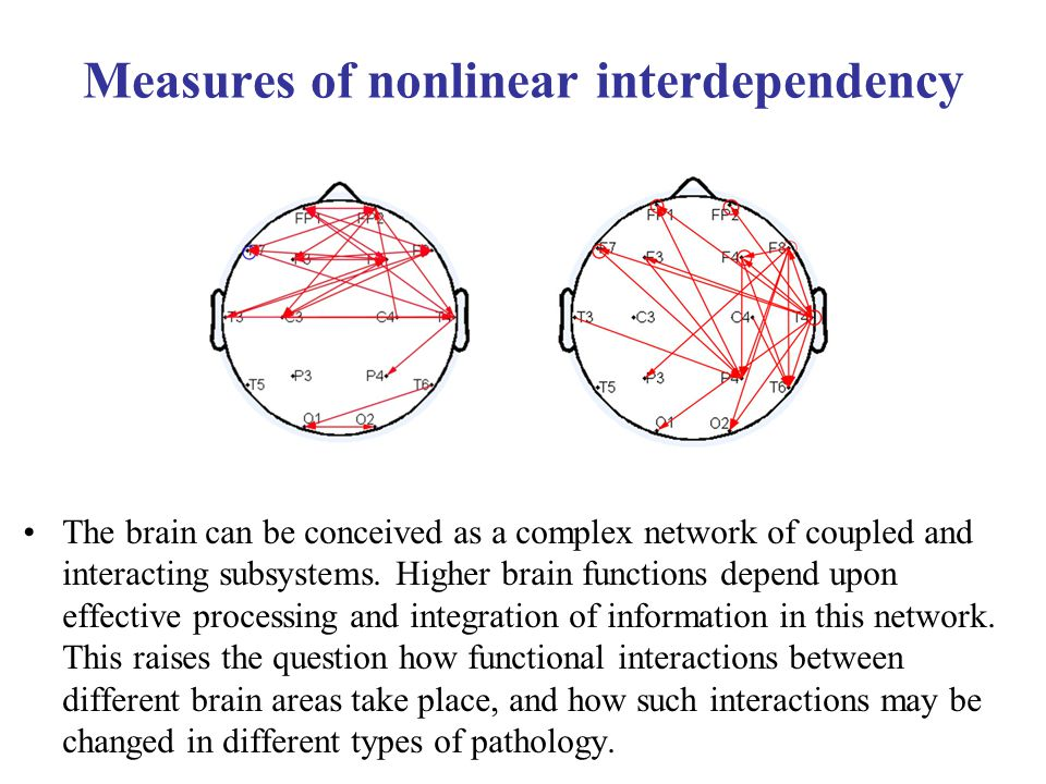 Measures of nonlinear interdependency The brain can be conceived as a complex network of coupled and interacting subsystems.