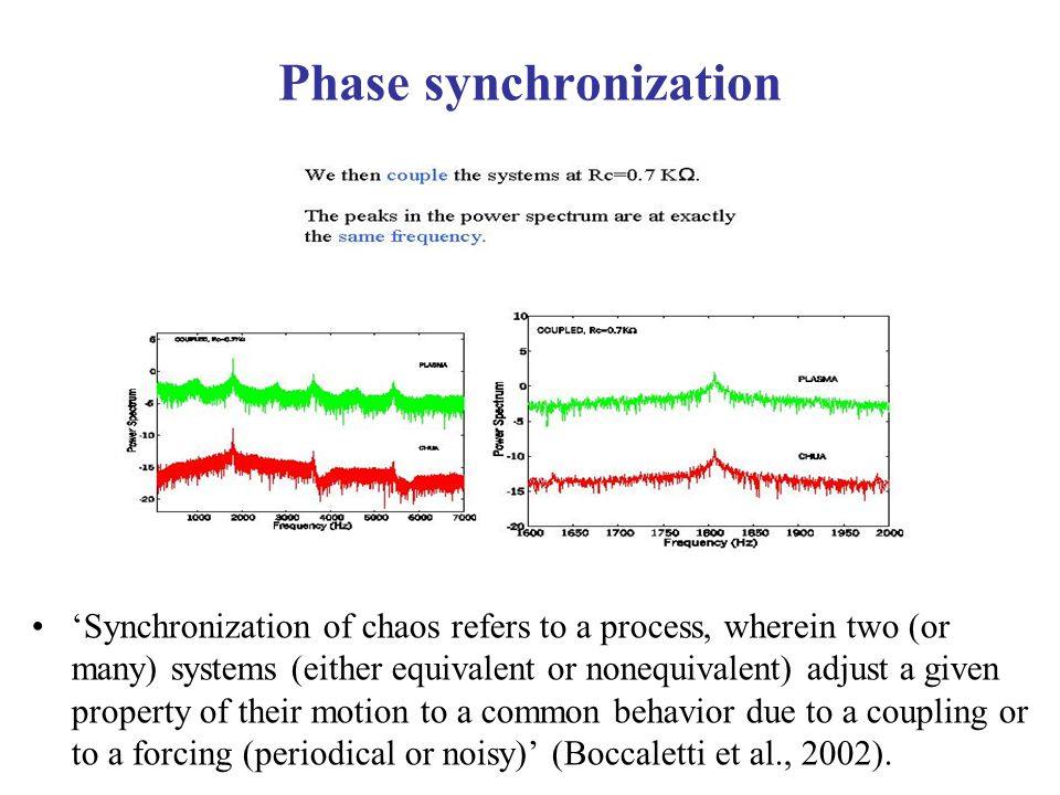 Phase synchronization 'Synchronization of chaos refers to a process, wherein two (or many) systems (either equivalent or nonequivalent) adjust a given property of their motion to a common behavior due to a coupling or to a forcing (periodical or noisy)' (Boccaletti et al., 2002).