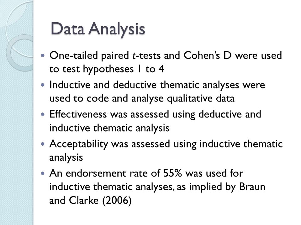 Data Analysis One-tailed paired t-tests and Cohen's D were used to test hypotheses 1 to 4 Inductive and deductive thematic analyses were used to code