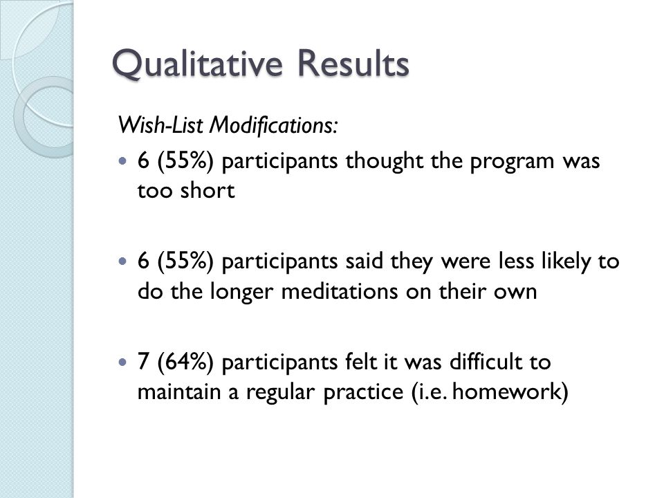 Qualitative Results Wish-List Modifications: 6 (55%) participants thought the program was too short 6 (55%) participants said they were less likely to do the longer meditations on their own 7 (64%) participants felt it was difficult to maintain a regular practice (i.e.