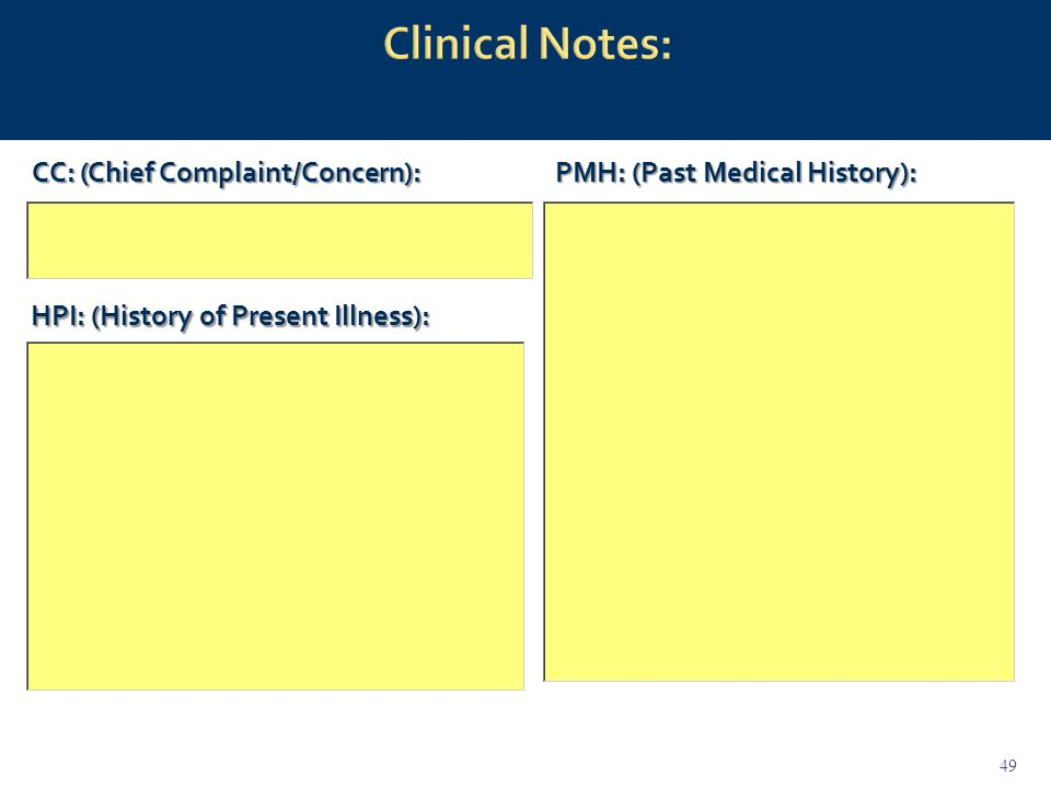 CC: (Chief Complaint/Concern): HPI: (History of Present Illness): PMH: (Past Medical History): 49