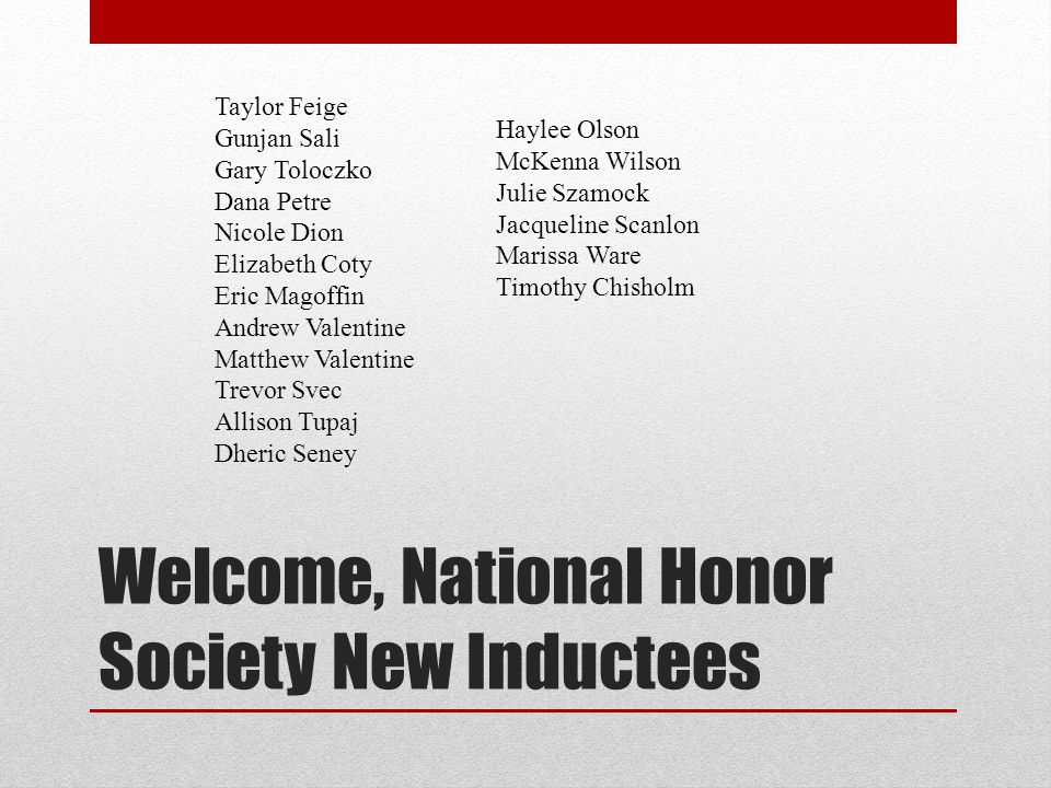 Welcome, National Honor Society New Inductees Taylor Feige Gunjan Sali Gary Toloczko Dana Petre Nicole Dion Elizabeth Coty Eric Magoffin Andrew Valent