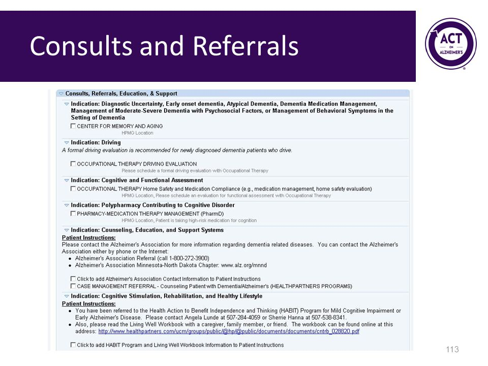 Consults and Referrals 113