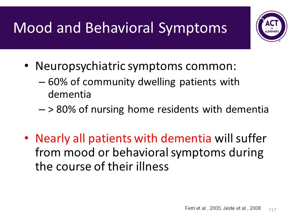 Mood and Behavioral Symptoms Neuropsychiatric symptoms common: – 60% of community dwelling patients with dementia – > 80% of nursing home residents with dementia Nearly all patients with dementia will suffer from mood or behavioral symptoms during the course of their illness Ferri et al., 2005; Jeste et al., 2008 117