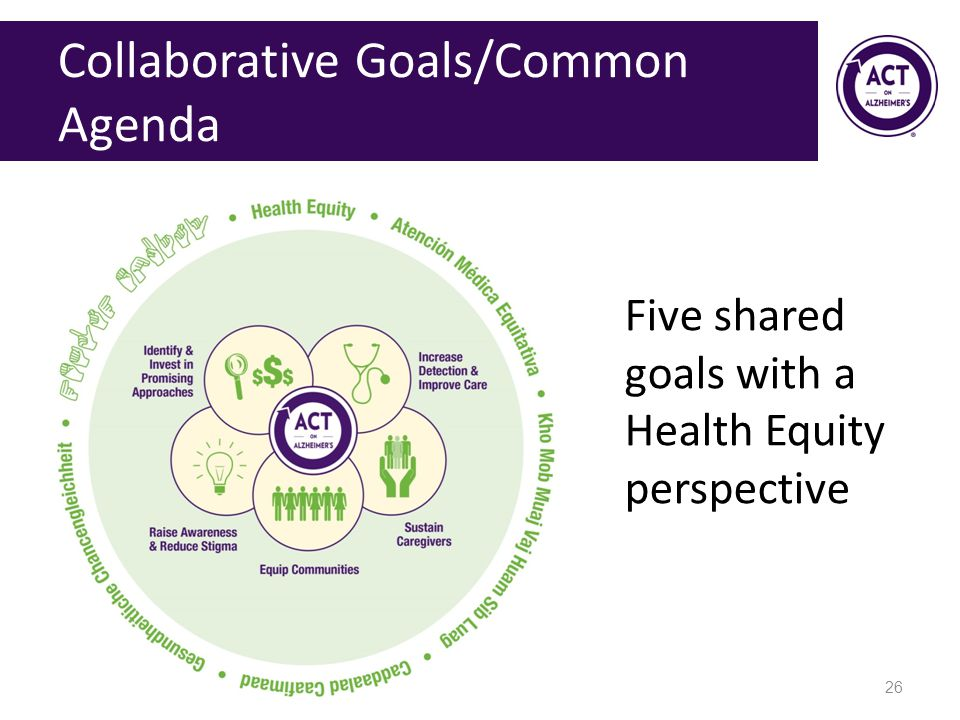 Collaborative Goals/Common Agenda Five shared goals with a Health Equity perspective 26