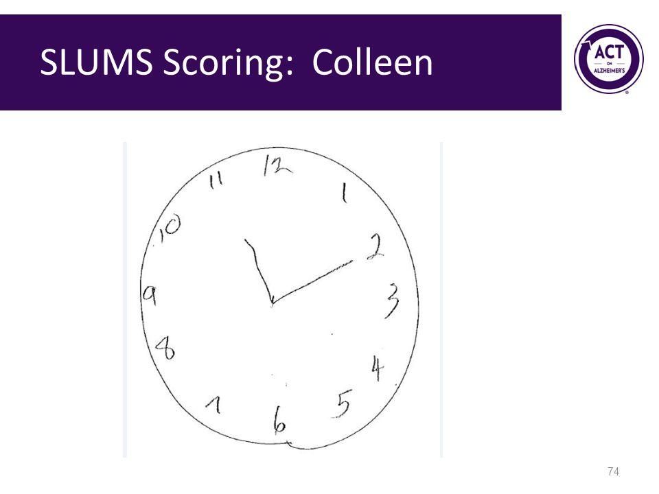 SLUMS Scoring: Colleen 74