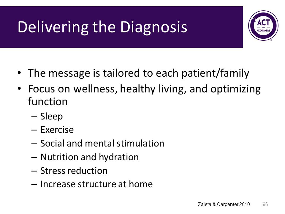 Delivering the Diagnosis The message is tailored to each patient/family Focus on wellness, healthy living, and optimizing function – Sleep – Exercise – Social and mental stimulation – Nutrition and hydration – Stress reduction – Increase structure at home 96 Zaleta & Carpenter 2010