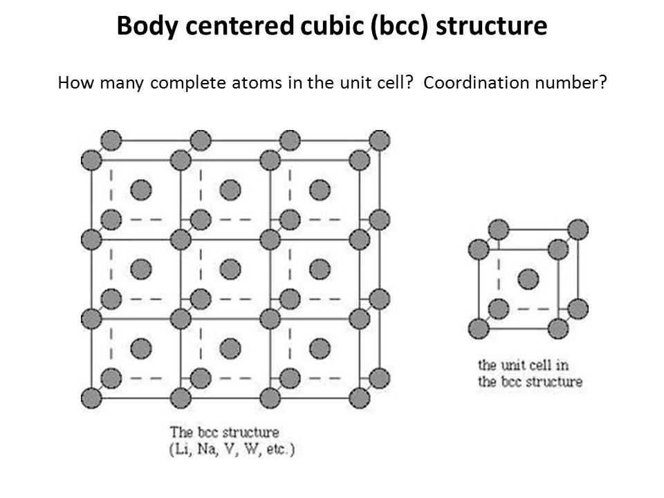 How many complete atoms in the unit cell? Coordination number? Body centered cubic (bcc) structure