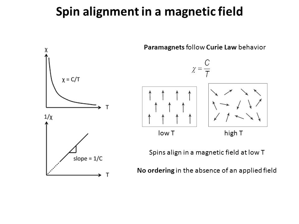 Spin alignment in a magnetic field Paramagnets follow Curie Law behavior Spins align in a magnetic field at low T No ordering in the absence of an app
