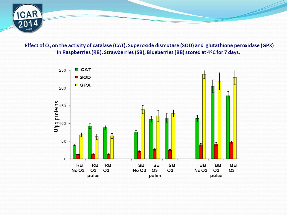Effect of O 3 on Anthocyanins and Flavonol content in Raspberries, Strawberries, Blueberries stored at 4°C for 7 days.