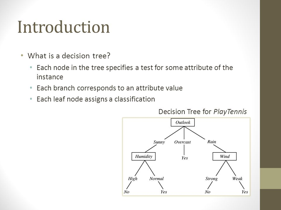 Introduction What is a decision tree? Each node in the tree specifies a test for some attribute of the instance Each branch corresponds to an attribut