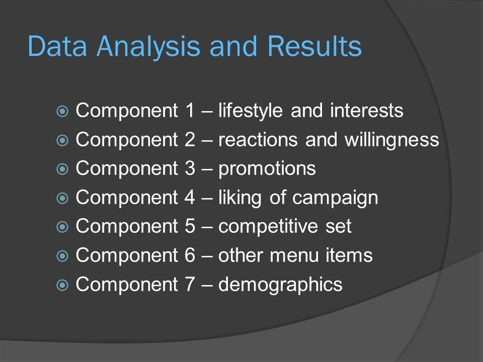 Data Analysis and Results  Component 1 – lifestyle and interests  Component 2 – reactions and willingness  Component 3 – promotions  Component 4 – liking of campaign  Component 5 – competitive set  Component 6 – other menu items  Component 7 – demographics