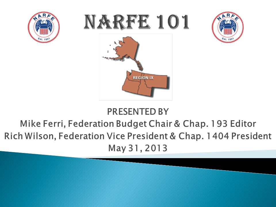 To provide you a brief overview of NARFE, the Washington State Federation of Chapters (WSFC) and the many benefits of NARFE membership