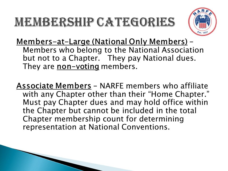 Members-at-Large (National Only Members) – Members who belong to the National Association but not to a Chapter.