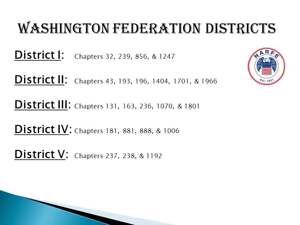 District I: Chapters 32, 239, 856, & 1247 District II: Chapters 43, 193, 196, 1404, 1701, & 1966 District III: Chapters 131, 163, 236, 1070, & 1801 Di