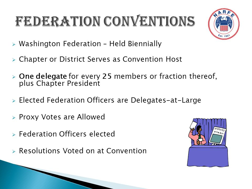  Washington Federation – Held Biennially  Chapter or District Serves as Convention Host  One delegate for every 25 members or fraction thereof, plus Chapter President  Elected Federation Officers are Delegates-at-Large  Proxy Votes are Allowed  Federation Officers elected  Resolutions Voted on at Convention