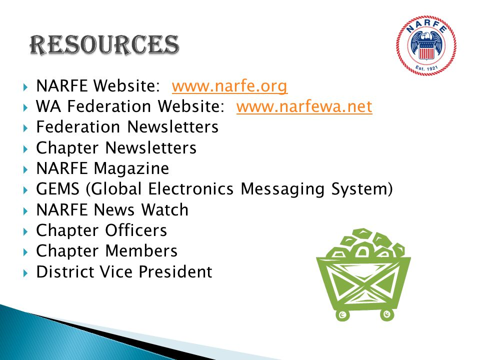  NARFE Website: www.narfe.orgwww.narfe.org  WA Federation Website: www.narfewa.netwww.narfewa.net  Federation Newsletters  Chapter Newsletters  NARFE Magazine  GEMS (Global Electronics Messaging System)  NARFE News Watch  Chapter Officers  Chapter Members  District Vice President