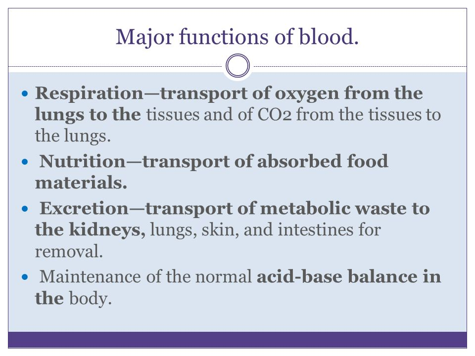 Major functions of blood. Respiration—transport of oxygen from the lungs to the tissues and of CO2 from the tissues to the lungs. Nutrition—transport