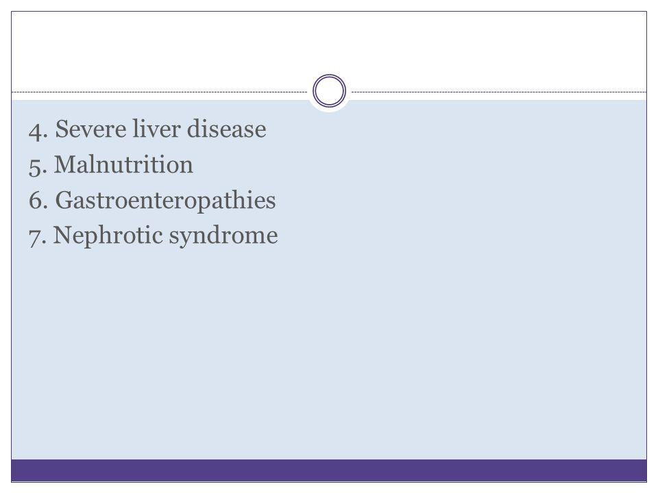 4. Severe liver disease 5. Malnutrition 6. Gastroenteropathies 7. Nephrotic syndrome