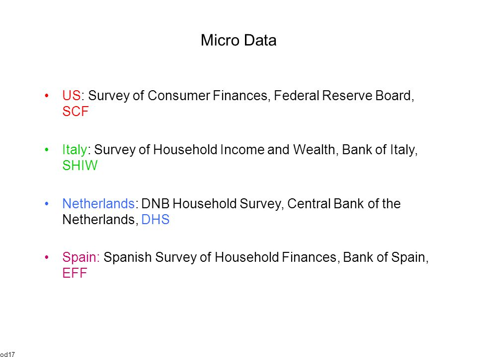 Micro Data US: Survey of Consumer Finances, Federal Reserve Board, SCF Italy: Survey of Household Income and Wealth, Bank of Italy, SHIW Netherlands: DNB Household Survey, Central Bank of the Netherlands, DHS Spain: Spanish Survey of Household Finances, Bank of Spain, EFF od17