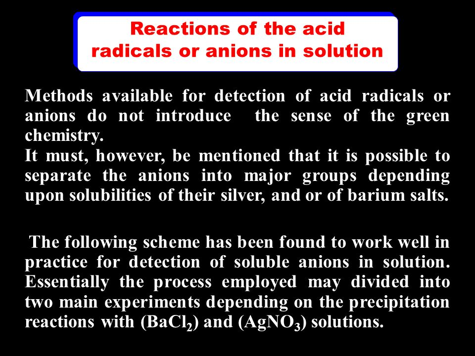 Methods available for detection of acid radicals or anions do not introduce the sense of the green chemistry.