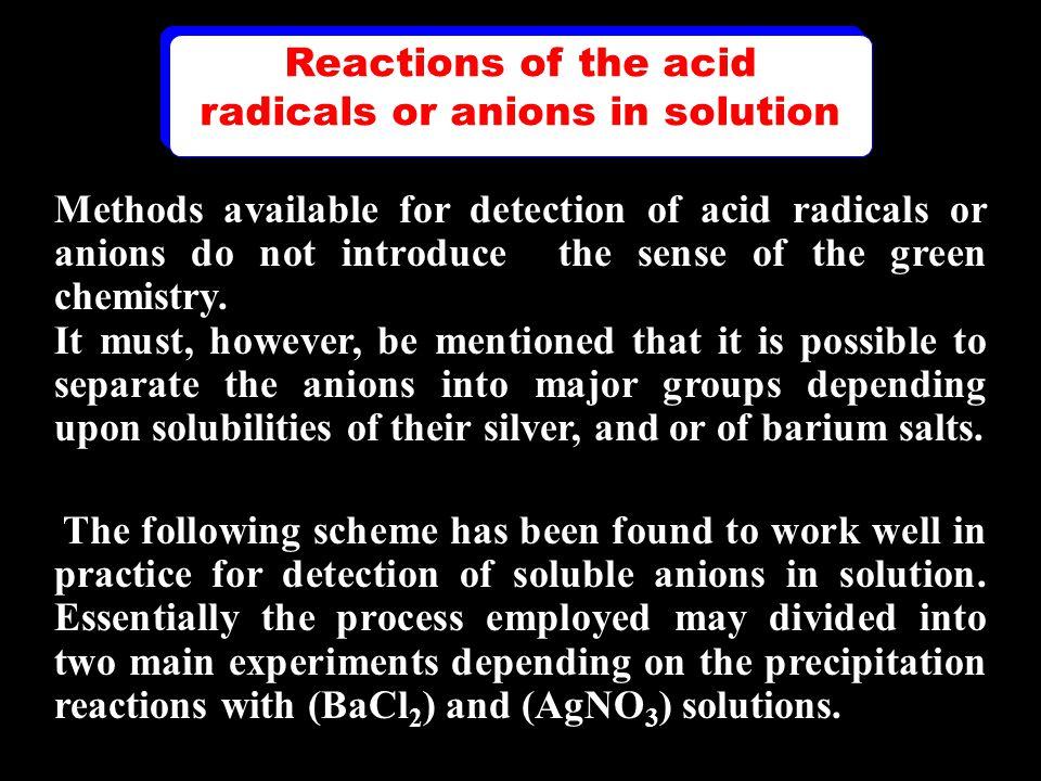 Unknown acid radical no ppt.Cl -, Br -, I -, S 2 O 3 - - S --, NO 2 -, NO 3 - White ppt.