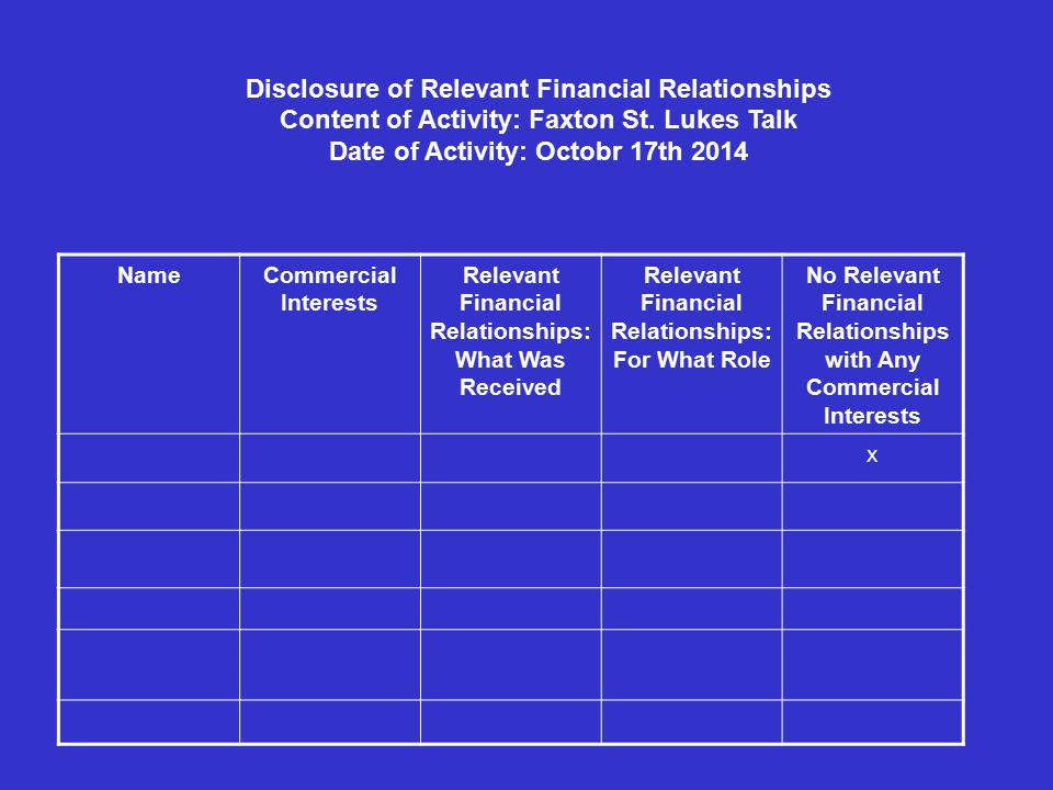 Disclosure of Relevant Financial Relationships Content of Activity: Faxton St.