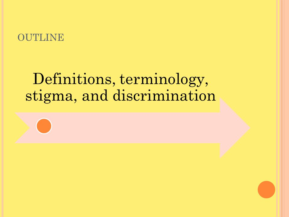 OUTLINE Definitions, terminology, stigma, and discrimination