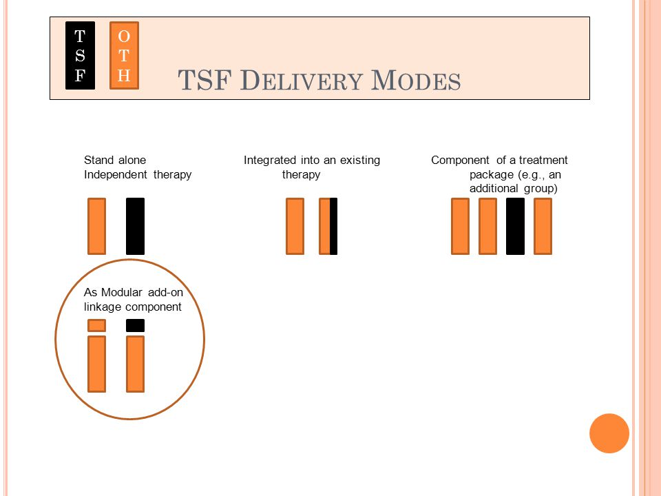 TSF D ELIVERY M ODES Stand alone Independent therapy Integrated into an existing therapy Component of a treatment package (e.g., an additional group) As Modular add-on linkage component TSFTSF OTHOTH