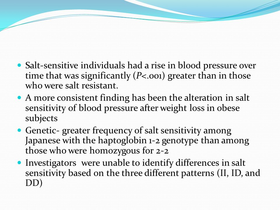 Salt-sensitive individuals had a rise in blood pressure over time that was significantly (P<.001) greater than in those who were salt resistant.