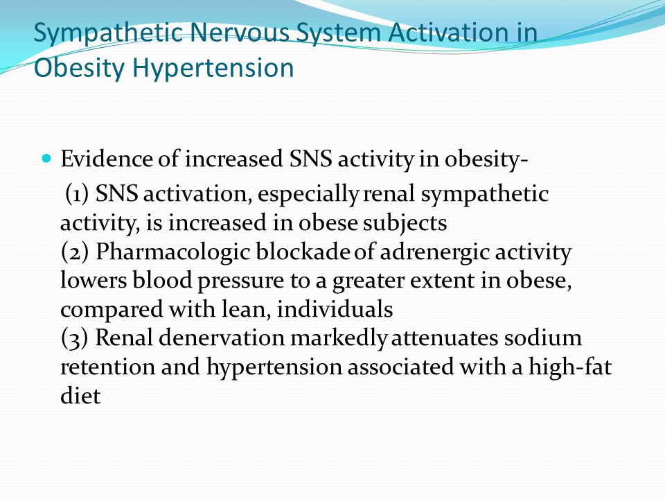 Sympathetic Nervous System Activation in Obesity Hypertension Evidence of increased SNS activity in obesity- (1) SNS activation, especially renal sympathetic activity, is increased in obese subjects (2) Pharmacologic blockade of adrenergic activity lowers blood pressure to a greater extent in obese, compared with lean, individuals (3) Renal denervation markedly attenuates sodium retention and hypertension associated with a high-fat diet