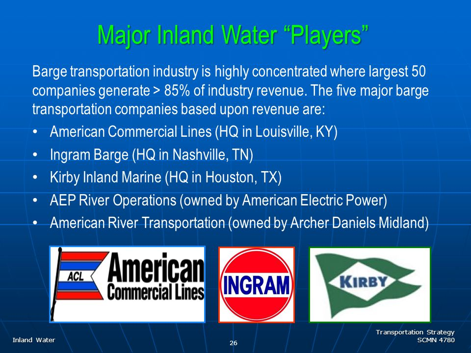 Transportation Strategy SCMN 4780 Inland Water Barge transportation industry is highly concentrated where largest 50 companies generate > 85% of industry revenue.