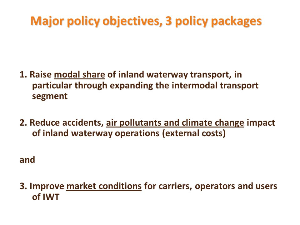 Major policy objectives, 3 policy packages 1.
