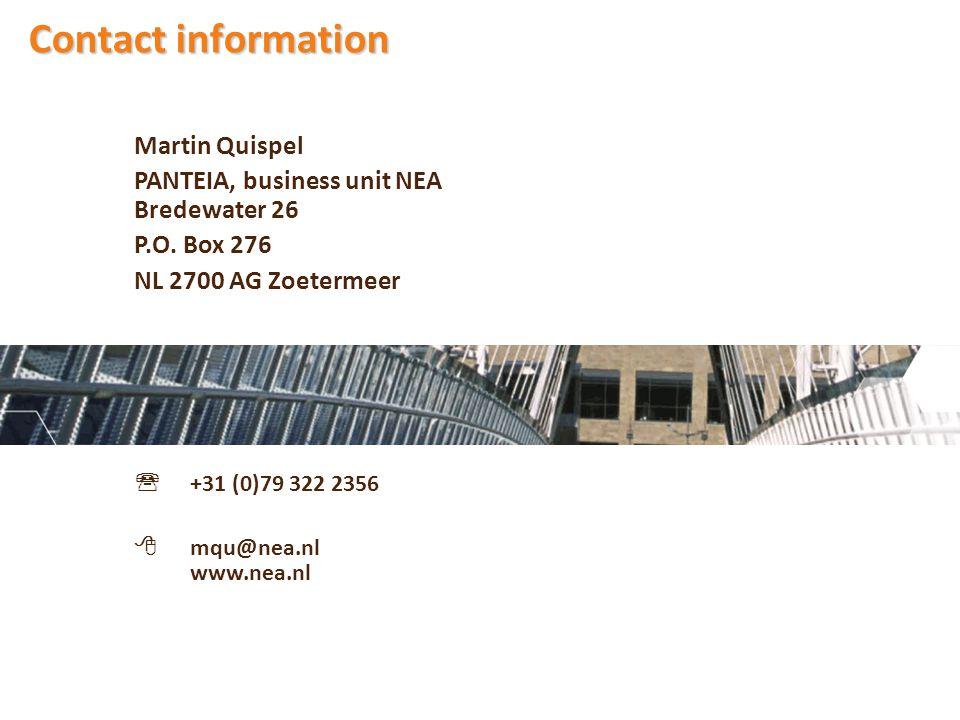 Martin Quispel PANTEIA, business unit NEA Bredewater 26 P.O.