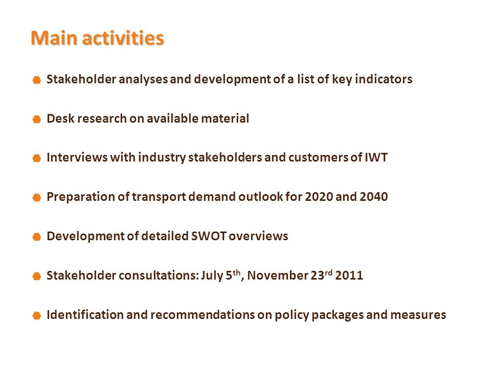 Main activities Stakeholder analyses and development of a list of key indicators Desk research on available material Interviews with industry stakeholders and customers of IWT Preparation of transport demand outlook for 2020 and 2040 Development of detailed SWOT overviews Stakeholder consultations: July 5 th, November 23 rd 2011 Identification and recommendations on policy packages and measures
