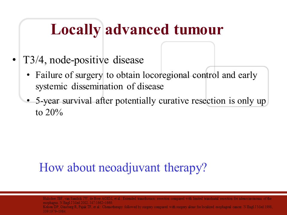 Locally advanced tumour T3/4, node-positive disease Failure of surgery to obtain locoregional control and early systemic dissemination of disease 5-ye
