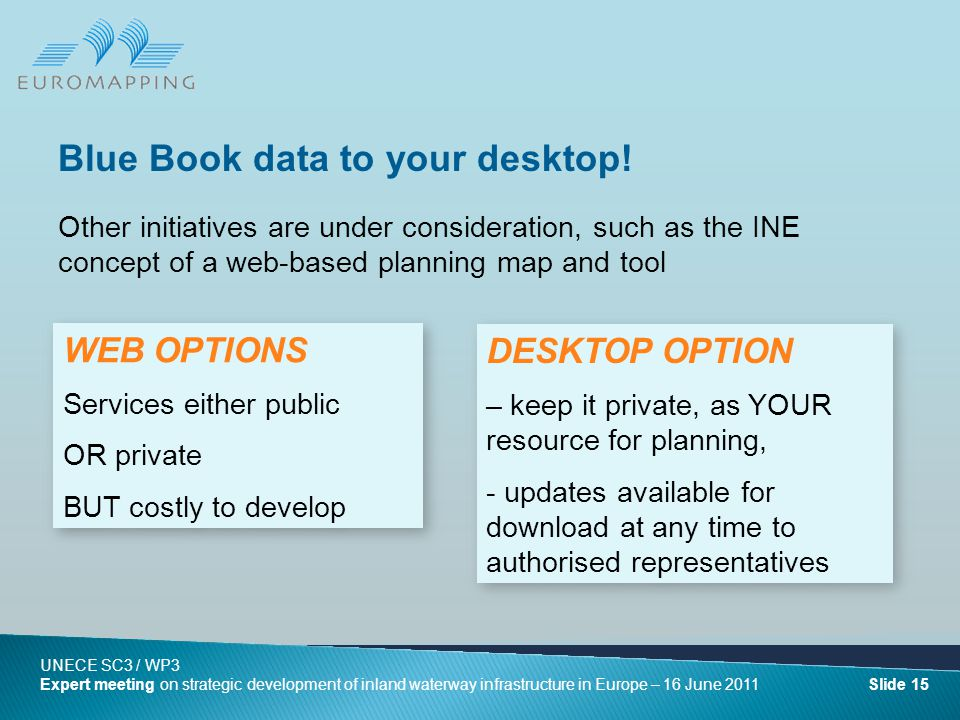 Other initiatives are under consideration, such as the INE concept of a web-based planning map and tool Blue Book data to your desktop.