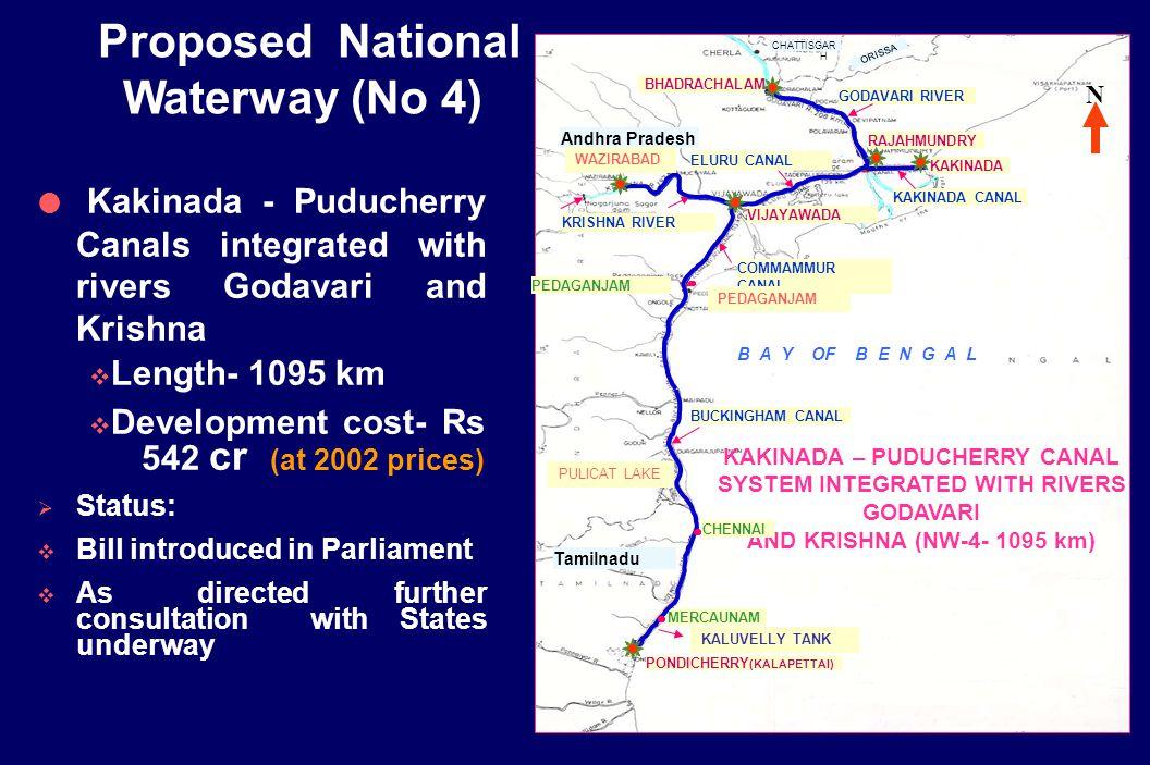 19 NAGARJUNA SAGARDAM KALUVELY TANK WAZIRABAD B A Y OF B E N G A L KAKINADA – PUDUCHERRY CANAL SYSTEM INTEGRATED WITH RIVERS GODAVARI AND KRISHNA (NW-4- 1095 km) COMMAMMUR CANAL ELURU CANAL PEDAGANJAM N BHADRACHALAM KAKINADA CANAL GODAVARI RIVER KAKINADA RAJAHMUNDRY VIJAYAWADA KRISHNA RIVER Andhra Pradesh BUCKINGHAM CANAL CHENNAI MERCAUNAM PONDICHERRY (KALAPETTAI) Tamilnadu CHATTISGAR H ORISSA WAZIRABAD PEDAGANJAM KALUVELLY TANK PULICAT LAKE  Kakinada - Puducherry Canals integrated with rivers Godavari and Krishna  Length- 1095 km  Development cost- Rs 542 cr (at 2002 prices)  Status:  Bill introduced in Parliament  As directed further consultation with States underway Proposed National Waterway (No 4)
