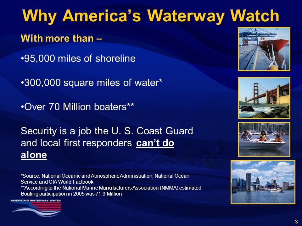 With more than – 95,000 miles of shoreline 300,000 square miles of water* Over 70 Million boaters** Security is a job the U.