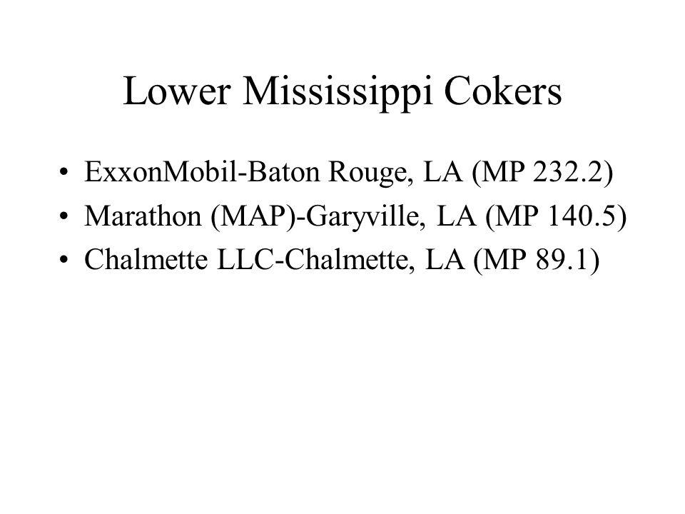 Lower Mississippi Cokers ExxonMobil-Baton Rouge, LA (MP 232.2) Marathon (MAP)-Garyville, LA (MP 140.5) Chalmette LLC-Chalmette, LA (MP 89.1)