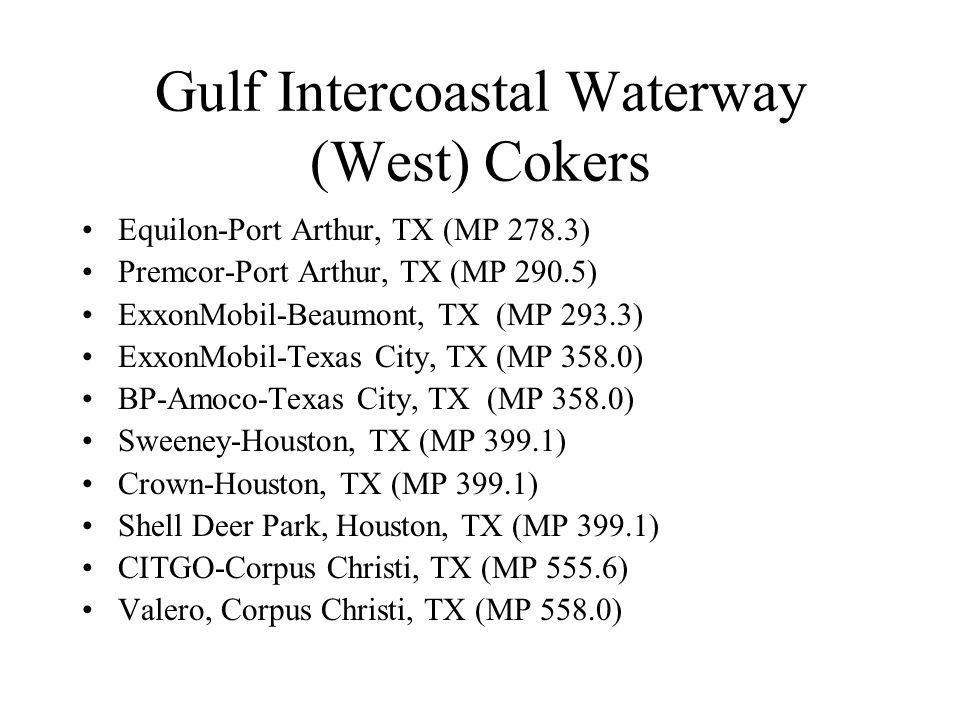 Gulf Intercoastal Waterway (West) Cokers Equilon-Port Arthur, TX (MP 278.3) Premcor-Port Arthur, TX (MP 290.5) ExxonMobil-Beaumont, TX (MP 293.3) ExxonMobil-Texas City, TX (MP 358.0) BP-Amoco-Texas City, TX (MP 358.0) Sweeney-Houston, TX (MP 399.1) Crown-Houston, TX (MP 399.1) Shell Deer Park, Houston, TX (MP 399.1) CITGO-Corpus Christi, TX (MP 555.6) Valero, Corpus Christi, TX (MP 558.0)
