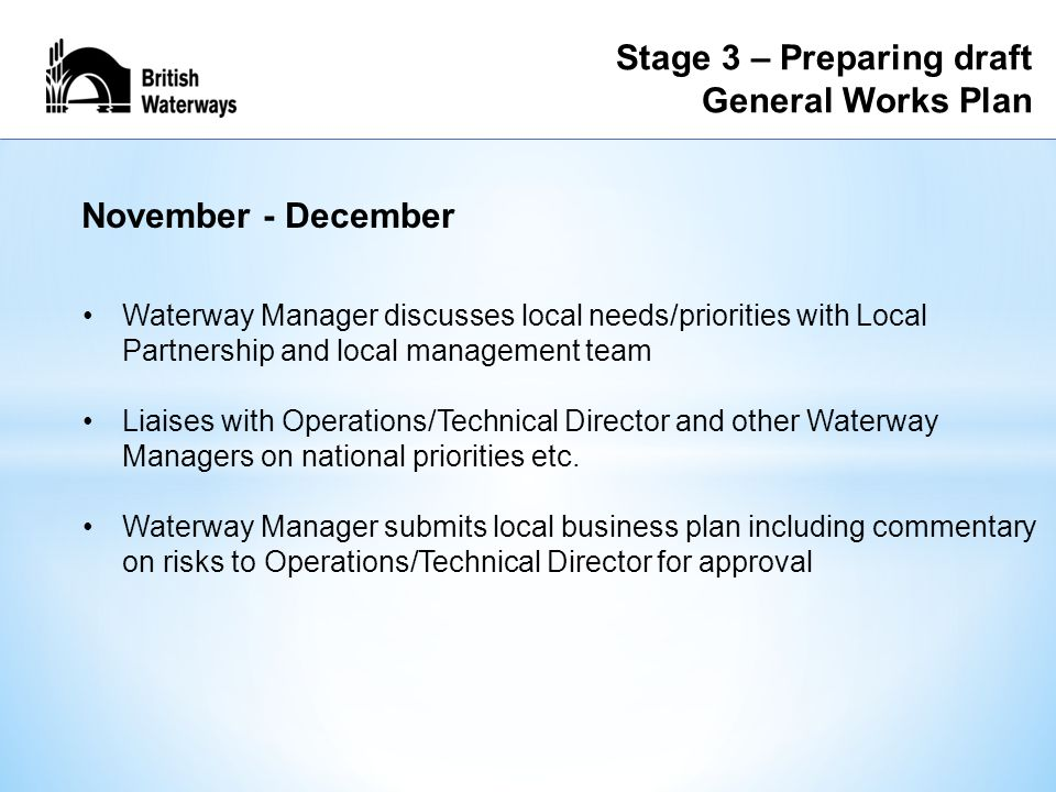 Stage 3 – Preparing draft General Works Plan Waterway Manager discusses local needs/priorities with Local Partnership and local management team Liaises with Operations/Technical Director and other Waterway Managers on national priorities etc.