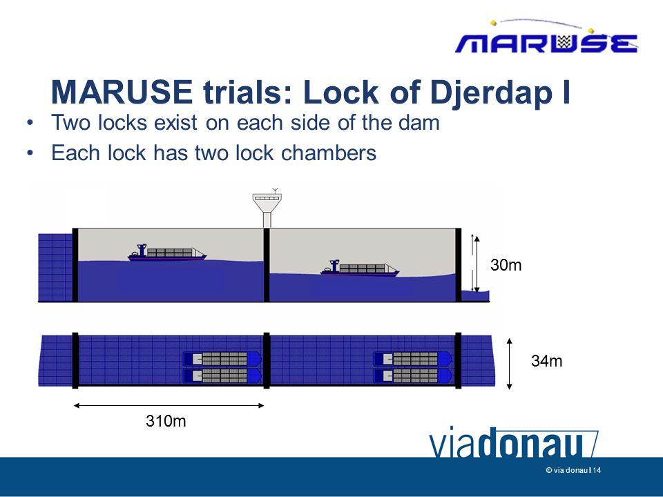 © via donau I 14 MARUSE trials: Lock of Djerdap I 310m 34m 30m Two locks exist on each side of the dam Each lock has two lock chambers