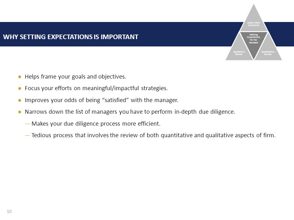 WHY SETTING EXPECTATIONS IS IMPORTANT ●Helps frame your goals and objectives.