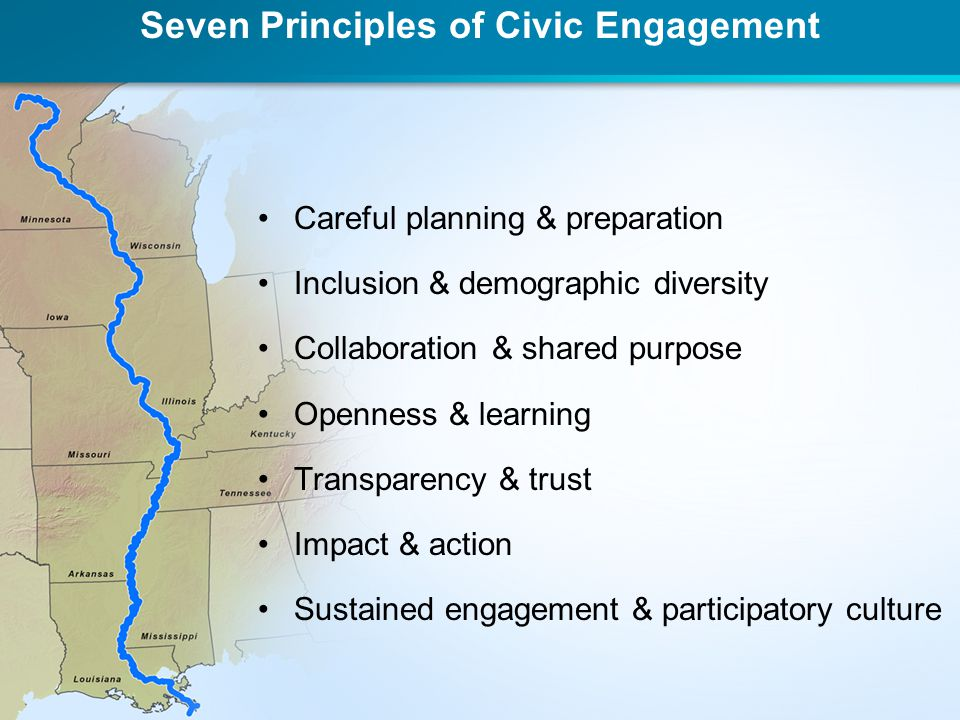 Seven Principles of Civic Engagement Careful planning & preparation Inclusion & demographic diversity Collaboration & shared purpose Openness & learni