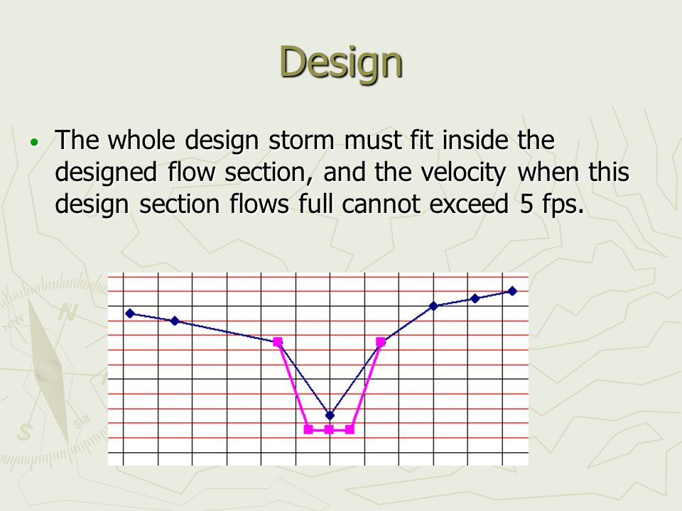 Design The whole design storm must fit inside the designed flow section, and the velocity when this design section flows full cannot exceed 5 fps. The