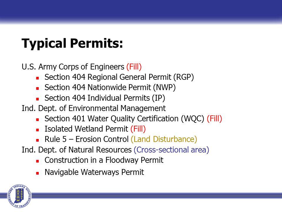 Typical Permits: U.S.