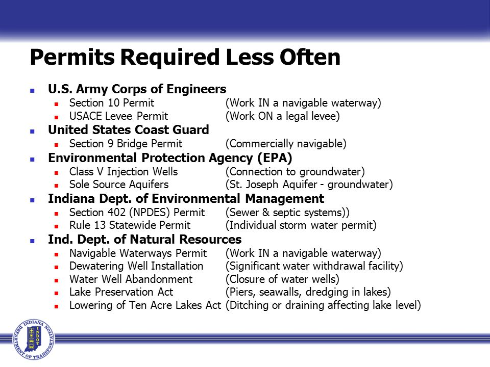 Permits Required Less Often U.S.