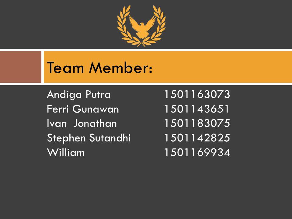 Andiga Putra1501163073 Ferri Gunawan1501143651 Ivan Jonathan1501183075 Stephen Sutandhi1501142825 William 1501169934 Team Member: